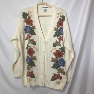 Alfred Dunner Vintage Embroidered Cardigan Sweater